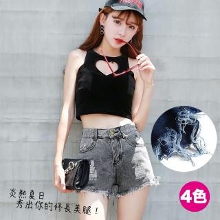 【RH】夏季新款寬鬆刷破大尺碼三分熱褲(熱夏必買全尺碼M-5L全新上市)