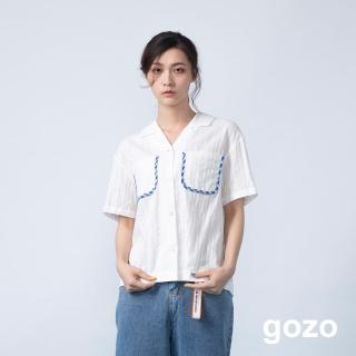 【gozo】格紋配色邊條口袋壓紋短襯衫(二色)