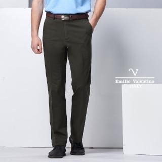 【VALENTINO 范倫鐵諾】雅致品味平面長褲_咖啡(77-8A1055)