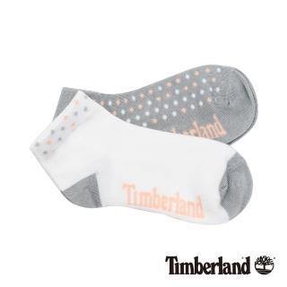 【Timberland】女款灰白粉撞色圓點素面兩件組短筒襪(A1ENK130)