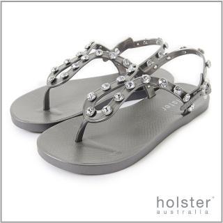 【HOLSTER】果凍水鑽U字帶涼鞋(銀灰色)
