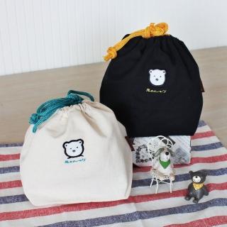 【三瑩文具】米爾熊貼布繡寬底束口袋-大(SBG-239)