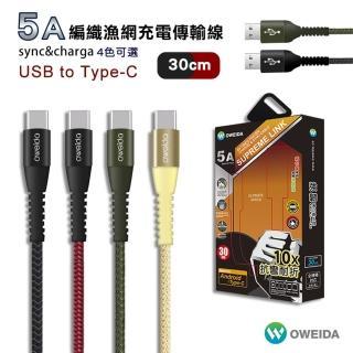 【Oweida】Type C 編織漁網充電線 30cm(傳輸線 短線)
