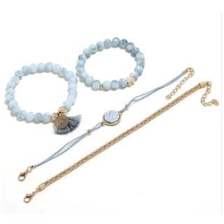 【RJ New York】創意藍色松石流蘇串珠多層手環4件套組(藍金色)