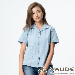 【VAUDE】女短袖格紋襯衫(VA-06053藍格/吸溼排汗/透氣舒適/簡約質感/零碼出清)