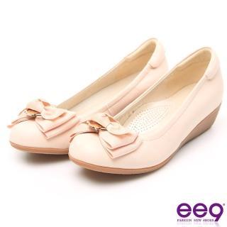 【ee9】MIT經典手工名媛專屬柔軟舒適楔型跟鞋 粉米色(楔型跟鞋)