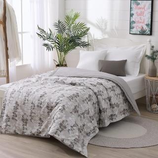 【LAMINA】精梳棉涼被4.5X6.5尺-自然葉風(灰)