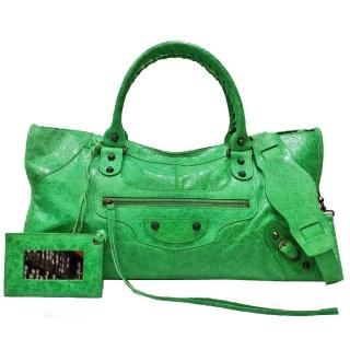 【Balenciaga 巴黎世家】168028.3745 經典Part-time小釦機車包(翡翠綠色)