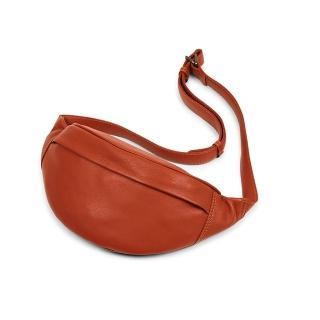 【MARKBERG】Tova 丹麥手工牛皮個性托瓦腰包 胸包 斜背包(溫煦橘)