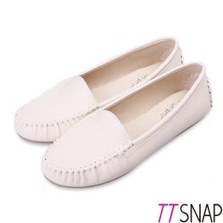 【TTSNAP】莫卡辛-MIT素面質感真皮豆豆鞋(米)