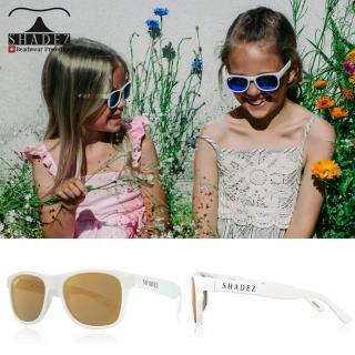【瑞士SHADEZ】頂級偏光太陽眼鏡 3-16歲 白框霧金(台灣製造 鏡架可彎)