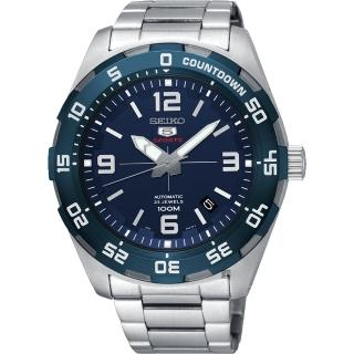 【SEIKO 精工】SPORTS 5號23石盾牌機械男錶-藍x銀/44mm(4R35-02C0B  SRPB85J1)