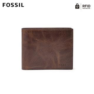 【FOSSIL】Derrick 深棕色真皮大零錢袋RFID皮夾 男ML3687201