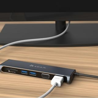 【ADAM】Hub A03 USB-C 5 合 1 多功能 4K 顯示轉接器(一秒擴充MacBook Air)