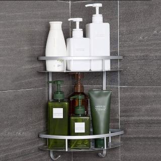 太空鋁免鑽牆 附6片無痕掛勾 雙層浴室置物架 三角扇形收納盒 轉角角落架 透明防水貼 免鑽孔