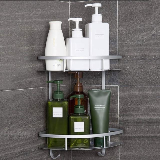 【HTOP】太空鋁雙層轉角角落浴室置物架(附6片無痕掛勾)/