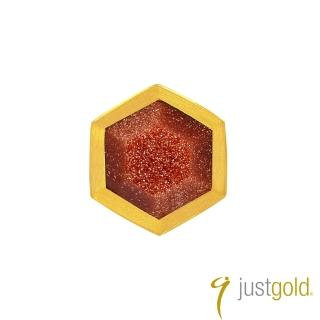 【Just Gold 鎮金店】搖滾蜂格純金系列 黃金單耳耳環(單粒-紅金沙石)