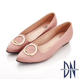 【DN】細緻典雅 特殊圓形飾釦尖頭包鞋(粉)
