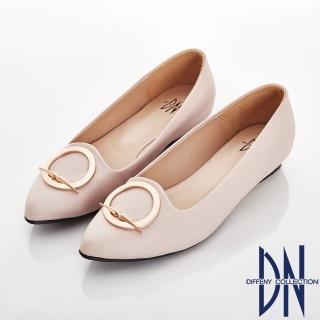 【DN】細緻典雅 特殊圓形飾釦尖頭包鞋(米)