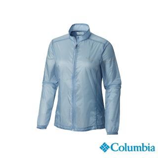 【Columbia 哥倫比亞】女款-野跑 輕量防潑風衣-灰藍(UAR26810CB / 排汗.抗UV.酷涼)