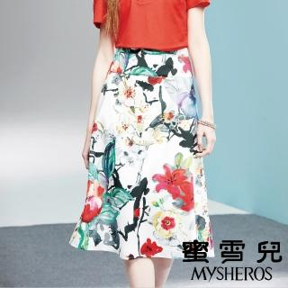 【mysheros 蜜雪兒】滿版花朵高腰長裙(米)