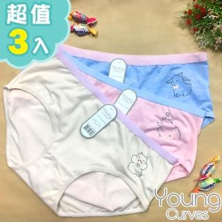 【Young Curves】動物好朋友親膚女兒童內褲(混色3件組)