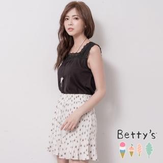 【betty's 貝蒂思】腰間鬆緊印花百褶褲裙(白色)