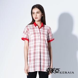 【KERAIA 克萊亞】細條格紋半開襟長版襯衫
