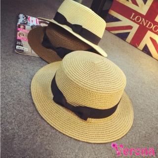 【Verona】日系小清新休閒平頂遮陽帽草帽