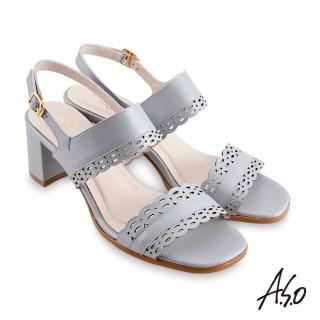 【A.S.O 阿瘦集團】時尚流行 健步美型精緻鏤空線條粗跟涼鞋(淺藍)