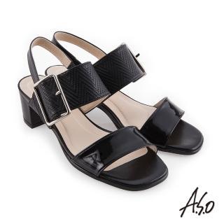 【A.S.O 阿瘦集團】時尚流行 健步美型壓紋皮料大飾釦粗跟涼鞋(黑色)