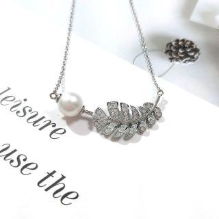 【I JEWELRY】高級手工純銀訂製系列 熱帶雨林葉子天然淡水珍珠純銀項鍊(附純銀保證卡 精美禮物包裝)