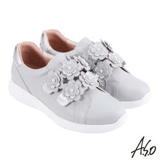 【A.S.O 阿瘦集團】時尚流行 Q彈紓壓花朵魔鬼氈條帶休閒鞋(灰色)