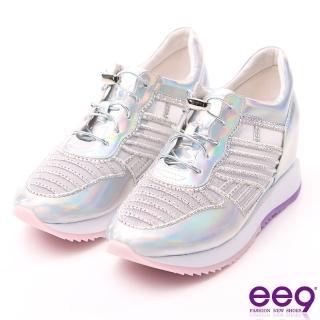 【ee9】鑲嵌亮鑽彈力鬆緊帶厚底內增高休閒鞋 銀色(休閒鞋)
