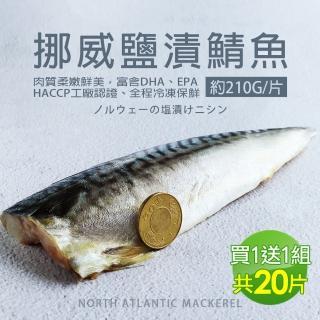 【優鮮配買1送1】厚片超大油質豐厚挪威薄鹽鯖魚10片(加贈10片共20片/210G片)