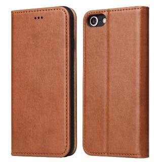 【Fierre Shann】真皮紋 iPhone SE2/7/8 4.7吋 錢包支架款 手工PU皮套保護殼(磁吸側掀 手工PU皮套)
