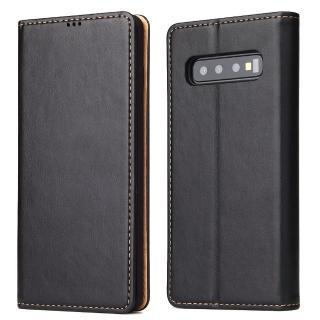 【Fierre Shann】真皮紋 Samsung S10+ 6.4吋 錢包支架款 手工PU皮套保護殼(磁吸側掀 手工PU皮套)