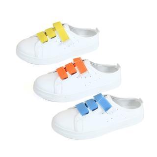 【Ocleather】繽紛糖色百搭半拖小白懶人鞋(4色可選全尺碼)