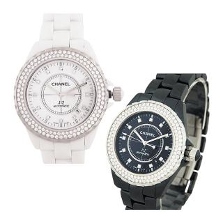 【CHANEL 香奈兒】CHANEL 香奈兒經典 J12 陶瓷寶石鑽錶(兩色)
