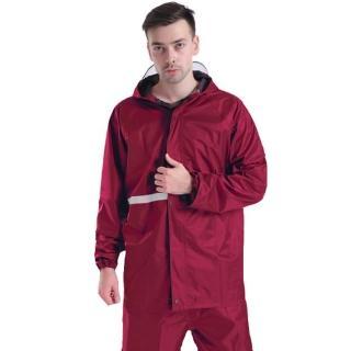 機車戶外活動反光兩件式雨衣雨褲 酒紅 多尺寸可選