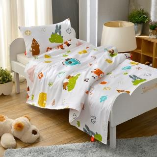 【Fancy Belle】與花仔野餐去 兒童純棉防蹣抗菌兩用被枕頭2件組(3.5x4.5尺)
