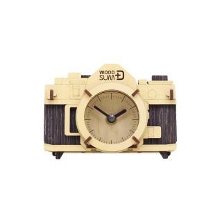 【WOODSUM】韓國 WOODSUM 輕手作。木製模型/復古相機時鐘/黑色款(模型)