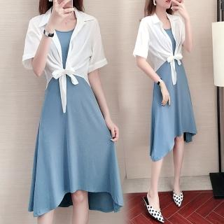 【KVOLL】簡約純色休閒罩衫+吊帶背心裙兩件套XL-5XL(共二色)