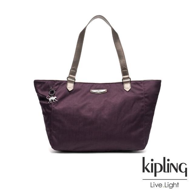 【KIPLING】霧紫素面大容量手提側背包-LOTS OF BAG