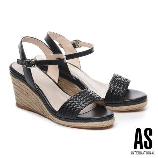 【AS集團】織造型草編楔型一字高跟涼鞋(黑)
