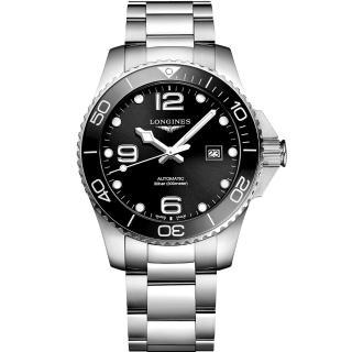 【LONGINES 浪琴】深海征服者浪鬼陶瓷潛水機械錶-黑x銀/43mm(L37824566)