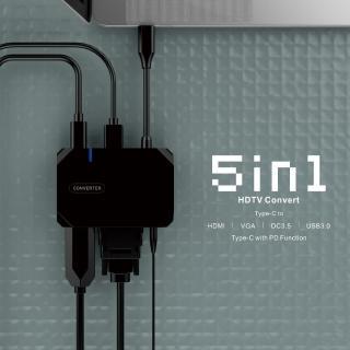 【VISION】TYPE C 5in1高效能影音HUB 60HZ(HDMI+USB3.0+VGA+PD+DC3.5)