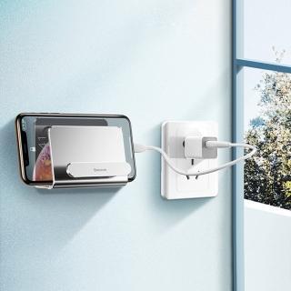 【BASEUS】倍思多功能壁掛黏貼式雙槽收納設計手機支架/集線器(銀色)