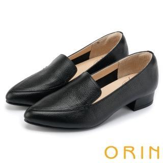 【ORIN】復刻經典 質感牛皮尖頭樂福低跟鞋(黑色)