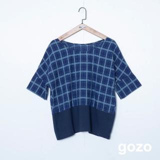 【gozo】混編格紋拼接後壓摺上衣(二色)/